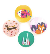 New Round Animal Coasters: Fox, Giraffe, Fish and Dachshund