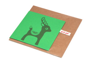 Christmas Card Deer Green