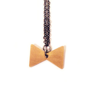 Mini Brass Bow Tie Necklace