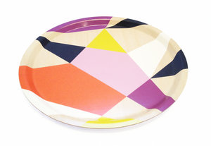 Geometric Round Tray Orange Purple 31cm