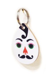 Hipp!ster Drop Wooden Keyring White