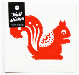 Squirrel Wallsticker Red