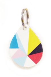 Geometric Drop Wooden Keyring Blue Red