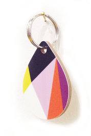 Geometric Drop Wooden Keyring Purple Orange