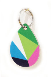 Geometric Drop Wooden Keyring Green Pink