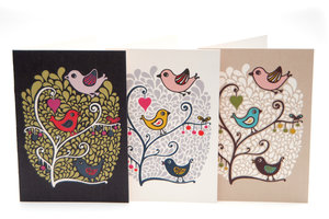 Birds & Berries Card Dark