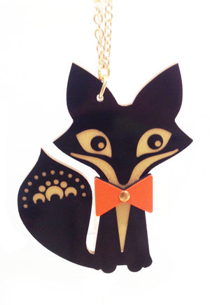 Big Fox Necklace with Bow Tie