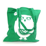 Owl Tote Bag Green/White