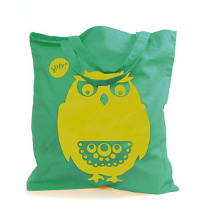 Owl Tote Bag Turquoise/Yellow