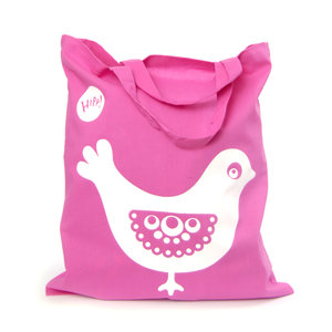 Bird Tote Bag Pink/White