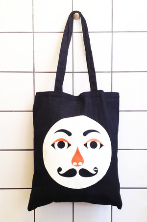 Hipp!ster Tote Bag black/white/orange