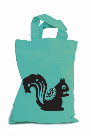 Squirrel Mini Tote Bag Turquoise/Black